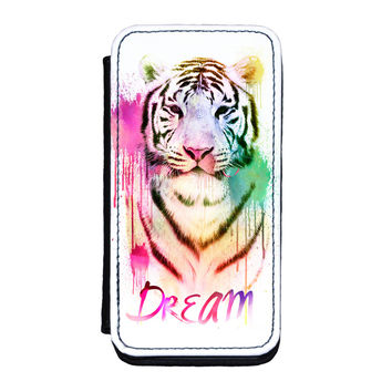 Watercolor Tiger 2 Premium Faux PU Leather Case Flip Case for iPhone 5C by Gangtoyz