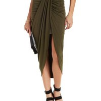 Olive Combo Ruched & Striped Tulip Skirt by Charlotte Russe