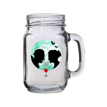 Bloody Couple Vampire Date Silhouettes w/Moon & Bats - 16 oz Mason Jar Glass Mug for Beer Tea Wedding, Engagement Anniversary Bridal Party for Newlyweds