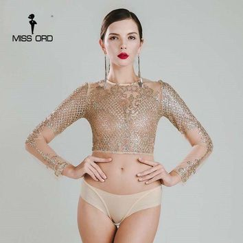 PEAP78W Missord 2015 Sexy O-neck long sleeve sequin bodysuit FT4754