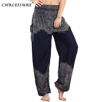 CHRLEISURE Women Harem Pants High Waist Boho Pant Plus Size Pantalon Mujer Loose Bohemian Rayon Smocked Waist Pant with Pocket