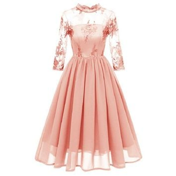 new sexy long sleeve splice party lace midi Dress o neck Pleated summer 2019 women Dresses elegant pink red vintage dress