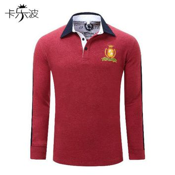 kalebo Fashion Winter Warm Mens Stand Collar Long Sleeve Slim Fit Solid Polo Shirts Topsautumn embroidery business formal leisur