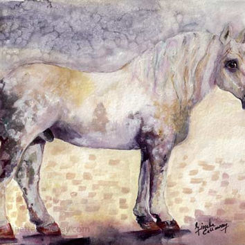 Percheron Horse Original Watercolor and Ink