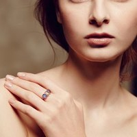 Labradorite Trinity Ring in 14k Rose Gold by Arik Kastan Grey