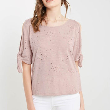 Distressed Cold Shoulder T Shirt