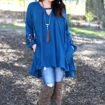 Sweetest Devotion Tunic Dress - Teal