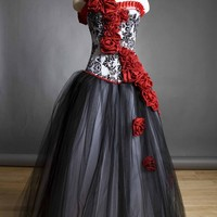 Custom Size Damask red rose Burlesque Corset Prom dress
