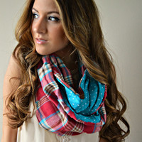 Plaid dot flannel infinity scarf,  Chunky plaid scarf
