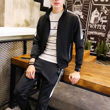 Stripe Tracksuit For Men Trainingspak Mannen Hip Hop  Zipper Mens SetMoleton Masculina Men Tracksuit Sportwear Sweatshirt