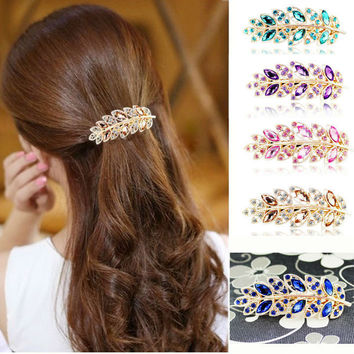 1 Piece New Luxury Crystal Hair Accessories Charms Leaf Hair Clip Twinkling Spring Wedding Bridal Hairpins A4R9C