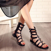 Hollow Out Studded Flats Gladiator Sandals 2361