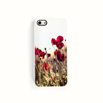 SALE, Red Poppy iPhone 5s case floral protective gadget cover- rubber iphone 5 case - bumper case