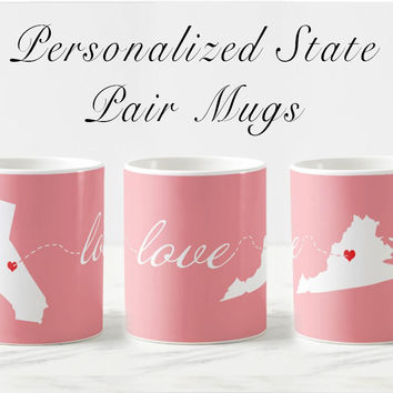 Personalized long distance Valentine's day mug set