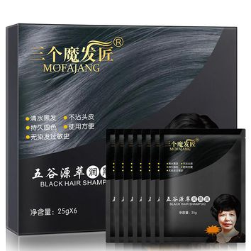 A Black Bubble Semi-permanent Hair Dye Formula Water Without Blending Hair Color Natural Plant 6 Bags Per Box