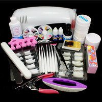 Nail Art Set #12 Pro DIY Nail Art UV Gel Kit UV lamp Brush Buffer Tool Nail Tips Glue Acrylic Set