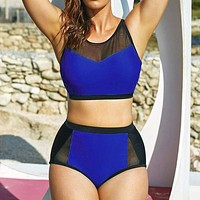 Blue black Swimwear Swimsuit Push Up Mesh Splicing High Waist Beach Bathing Suit Beachwear