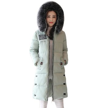 High Quality 2017 New Fashion Women Winter Jackets Female Elegant Thicken Warm Large Fur Hooded Down Cotton Parkas Coat CM1935
