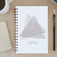 """2015-2016 Weekly Planner: 12-month Academic """"Cancer Constellation"""" with back pocket, bronze wire binding, stickers and tabs"""