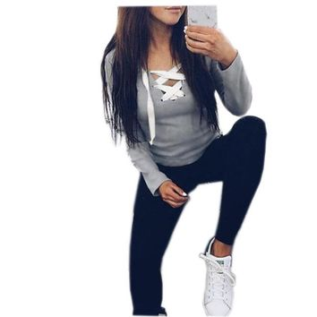 2018 Sexy Casual Kawaii Hoodies Sweatshirts Women Fashion Long Sleeve V-neck Bandage Hoodies Shirts Casual Sexy Women Tops GV371