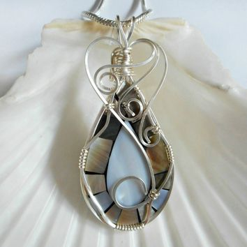 Wire Wrapped Mother of Pearl, Mosaic, Handmade Jewelry, Wire Work Pendant