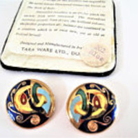 Celtic Enamel Earrings, Cloisonne Tara Ware, Made In Ireland, Vintage Colorful Earrings