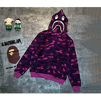 BAPE 2018 autumn and winter wear new tide brand shark camouflage coat sweater F-XMCP-YC camouflage purple