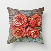 Roses & Woodgrain  Throw Pillow by DuckyB (Brandi)
