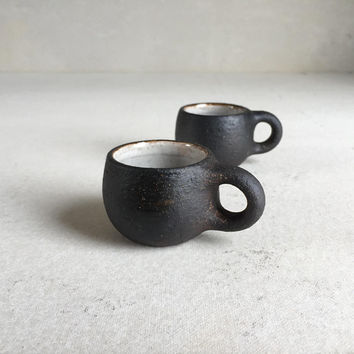 SMALL ESPRESSO CUP Rustic Black 1.5 oz, ceramic, ceramics, pottery, handmade, demitasse, coffee, single espresso cup, small cup, small mug
