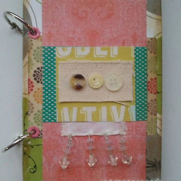 Button junk journal. Small junk journal. 4 x 6 junk journal. Smash book. Small gift.