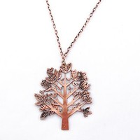 Copper Tone Tree Leaves Forest Green Birds Costume Necklace