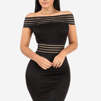 Striped Off The Shoulder Bodycon Dress (Black)