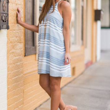 Spring Upgrade Dress, White-Sky Blue