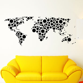 Vinyl Wall Decal Earth World Map Funny Art Decor Bubble Circles Stickers Unique Gift (1345ig)