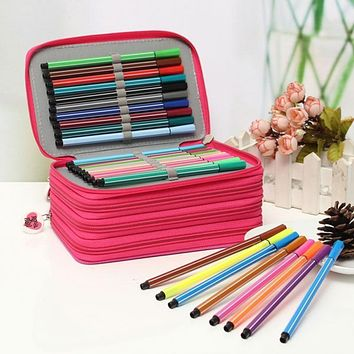 Portable Drawing Sketching Oxford Cloth Pen Case Holder Bag For Pencils Pouch Pockets Set Art School Stationery Supply