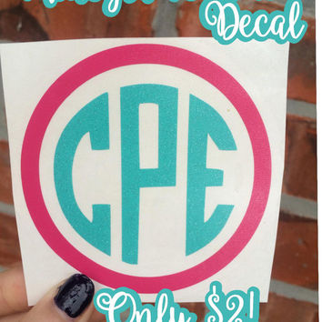 Monogram Decal Sale, Circle Frame Decal, Two Color Decal Sale, Yeti Monogram, Car Monogram, Decal Vinyl, Name Sticker, Circle Monogram