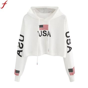 Women American Flag Print Hoodie Sweatshirt Autumn Crop Top Long Sleeve Hoodie Sweatshirt Jumper Hooded Pullover Tops moletons