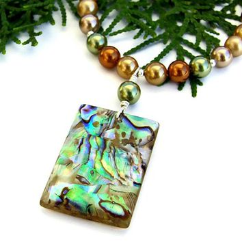 Abalone Shell Pendant Necklace Handmade Swarovski Pearls Jewelry OOAK