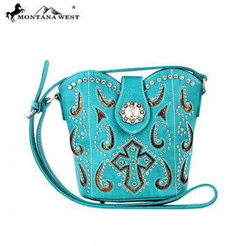 * Spiritual Collection Messenger Handbag In Turquoise