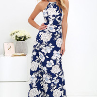In Blossom Blue Floral Print Maxi Dress