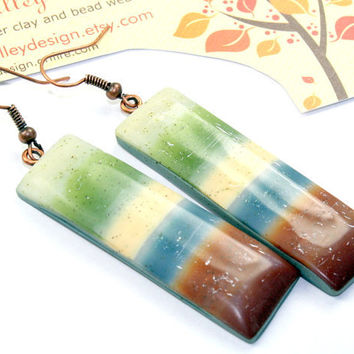 Polymer clay earrings, stripe, controlled marbling technique,  OOAK / handmade
