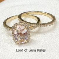 6x8mm Oval Cut Pink Morganite Diamond Engagement Ring With Matching Band Sets in 14K Yellow Gold,Bridal Ring
