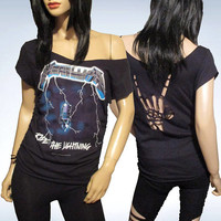 Metallica / Cut / Shredded / Slashed / Weaved / Band T Shirt / Size Large