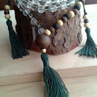 Balance and good karma Japa Mala. Wood, Czech Crystal, 2 side counters, green tassels. Tibetan Buddhist Mala Rosary 45.