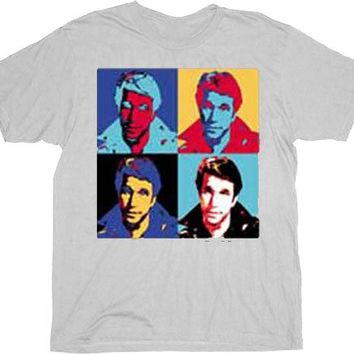 Happy Days The Fonz Fonzie Pop Art Silver T-shirt
