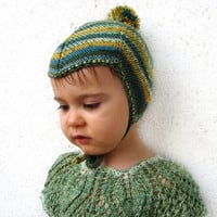 Woodland aviator hat, striped wool baby hat, hat for children with pompom, choose your size