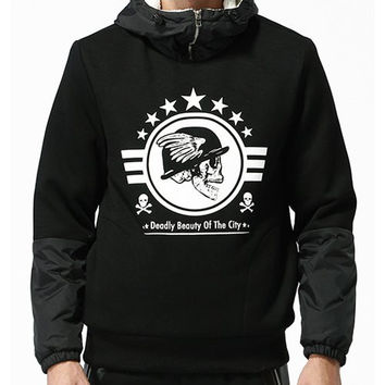 Hooded Skull Print Fabric Splicing Long Sleeve Thicken Cotton Blend Hoodie For Men FREE SHIPPING !!!