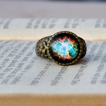 The Crab Nebula Galaxy Ring, Statement Glass Dome Galaxy Space Ring, Resin Jewelry