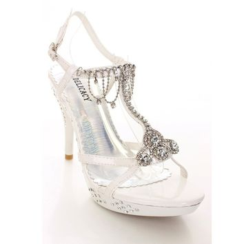 White Rhinestone Evening Bridal Wedding High Heel Sandal Womens Shoes