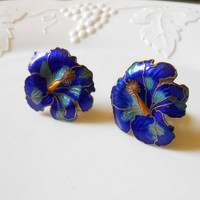 Vintage Earrings Tropical Blue Flowers Clip On Earrings